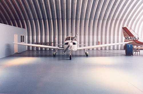 Steel arch buildings are great for aircraft hangars.