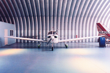 Interior Shot of a Steel Aircraft Hangar